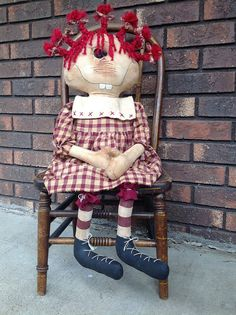 Maggie the Primitive Rag Doll with Red Homespun Dress