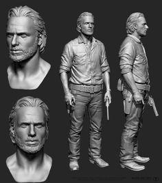 Walking Dead, 3D print.  Body sculpted by Majid Smiley, head sculpted by Rafael Grassetti