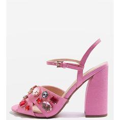 Topshop Rubies Gem Embellished Sandals ($76) ❤ liked on Polyvore featuring shoes, sandals, pink, topshop shoes, gem shoes, decorating shoes, pink high heel sandals and high heel sandals