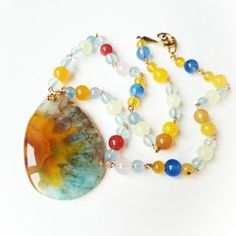 Agate pendant, gemstone chain necklace, vibrant colors!!!  Take a look!!!