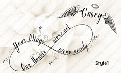 """Custom Cutting File / Svg """"Your Wings were ready..."""" Infinity personalized. 2 style choices. by Thyme4K on Etsy"""