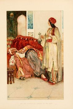 Here we see Scheherazade standing over a sleeping sultan. Having survived another night by weaving him magical tails that kept his madness at bay and thus giving her another day of life. The magic of her tails ultimately drives away the madness of the sultan and causes him to truly love her.
