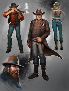 Wild west characters, Petr Passek on ArtStation at https://www.artstation.com/artwork/wild-west-characters