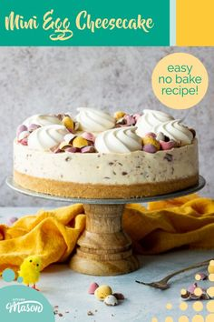 This easy no bake Mini Egg cheesecake recipe is the perfect Easter dessert! It's light, creamy and packed FULL of Cadbury's Mini Eggs! As far as Easter recipes go, this is the all time ultimate! Click for the full recipe, helpful tips and your FREE e-cookbook! Dump Cake Recipes, Easy Cheesecake Recipes, Cheesecake Desserts, Best Dessert Recipes, Easy Desserts, Mini Egg Recipes, Easy Baking Recipes, Fun Easy Recipes, Easter Recipes