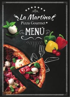 La Martina Pizza Gourmet - Italienisches Restaurant in Barrios Unidos Pizza Menu Design, Food Menu Design, Food Poster Design, Restaurant Menu Design, Pizza Branding, Pizza Logo, Pizzeria, Pizza Gourmet, Pizza Chef