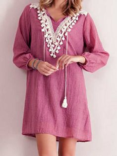Pink V-neck Lace Crochet Panel Pom Drop Textured Dress