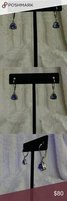 """Genuine Tanzanite Lever-back Sterling Earrings GORGEOUS Tanzanite Perfection! Two Perfectly matched 6x6 Trillions set in Sterling Silver. Lever-back findings for comfort and security. Fully finished. Approximately 1"""". From my personal collection. Questions? Please ask. NO Low Ball Offers Accepted. Siberianhusky1 Jewelry Earrings"""