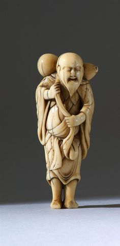 "IVORY NETSUKE 18th Century In the form of the sennin, Chokwaro, carrying a double gourd. Height 3.6"" (9 cm)."