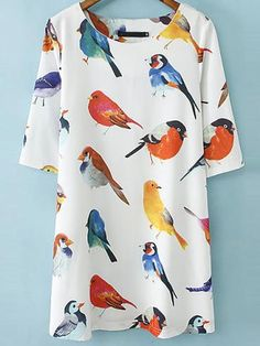 Elbow Sleeve Birds pattern Random Loose Dress