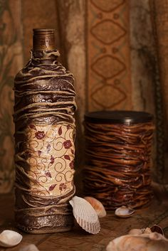 Decoupage Bottle - Fabric all rumpled...interesting