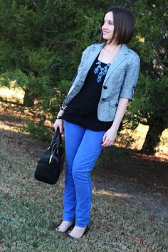 cute short-sleeved jacket, blue bauble necklace, blue, black & gray