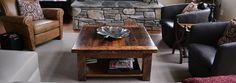 Barn board coffee table with shelf.