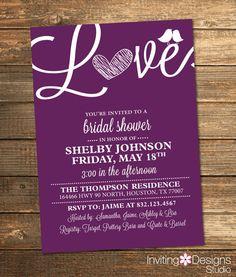 Bridal Shower Invitation, Love, Birds, Heart, Purple, Eggplant, Plum, Wine, White, Modern, Printable File (Custom, INSTANT DOWNLOAD)