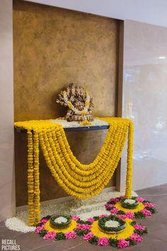 Photo from Tanya & Neev Wedding Ganpati Decoration At Home, Diwali Decorations At Home, Home Wedding Decorations, Backdrop Decorations, Festival Decorations, Flower Decorations, Indian Decoration, Flower Garlands, Floral Garland