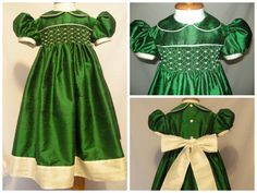 Emerald and Ivory Hand Smocked Sunday Best Silk Dress by Designer Lisa Ray at Red Bird Lane Designs www.redbirdlanedesigns.com