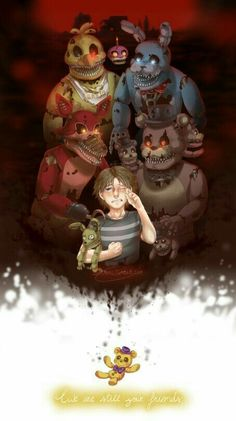 We are still your friends, Freddy, Bonnie, Foxy, Chica, Plushtrap, Golden Freddy, sad, crying, child; Five Nights at Freddy's