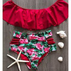 Sexy High Waist Bikinis 2019 New Print Swimwear Women Swimsuit Shoulder Ruffle Bathing Suits Beach Wear Push Up Biquini Female Push Up Bikini, Bandeau Bikini Set, Ruffle Swimsuit, Sexy Bikini, Blue Swimsuit, Bikini Top, Bride Squad Bathing Suit, Bathing Suits, Plus Size Swimsuits