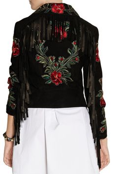 Moschino | Fringed embroidered suede biker jacket | NET-A-PORTER.COM