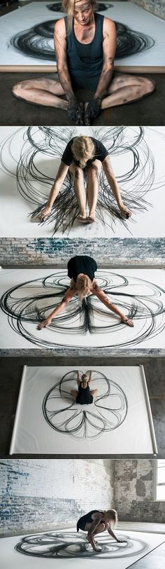 "LA, New Orleans-based Artist Heather Hansen - ""Emptying Gestures is an experiment in kinetic drawing. In this series, I am searching for ways to download my movement directly onto paper, emptying gestures from one form to another and creating something new in the process."":"