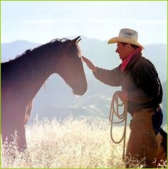 Monty Roberts and his horse.
