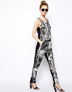 $84, Black and White Print Jumpsuit: Splash Print Jumpsuit by Vila. Sold by Asos. Click for more info: http://lookastic.com/women/shop_items/54736/redirect