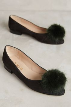 Pom Pom Leather Flat