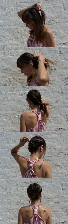 A quick twisted style to get your hair off your neck - great for casual summer events.