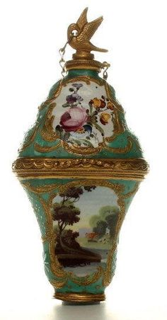 A South Staffordshire enamel perfume Bonbonnaire - The Antique Enamel Company
