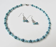 Pearl Necklace Earring Set Teal Jewelry Set Pearl by HASjewelry