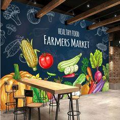 Fruit And Veg Market, Fruit Shop, Farmers Market, Cafe Design, Store Design, Mural Cafe, Shop Shelving, Vegetable Shop, School Murals