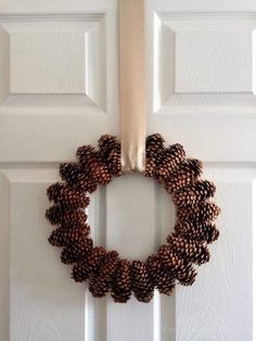 Simple and Lovely Pinecone Wreath DIY pinecone wreath Pallet Christmas Tree, Christmas Crafts, Christmas Decorations, Holiday Decor, Christmas Ribbon, Christmas Christmas, Knock Off Decor, Pine Cone Crafts, Wreath Tutorial