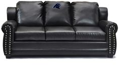 [[start tab]] Description The Carolina Panthers NFL Coach Leather Sofa is a most welcome addition to your Fan Cave, den, office, or living room. It is covered in bonded leather with an 8-inch embroide