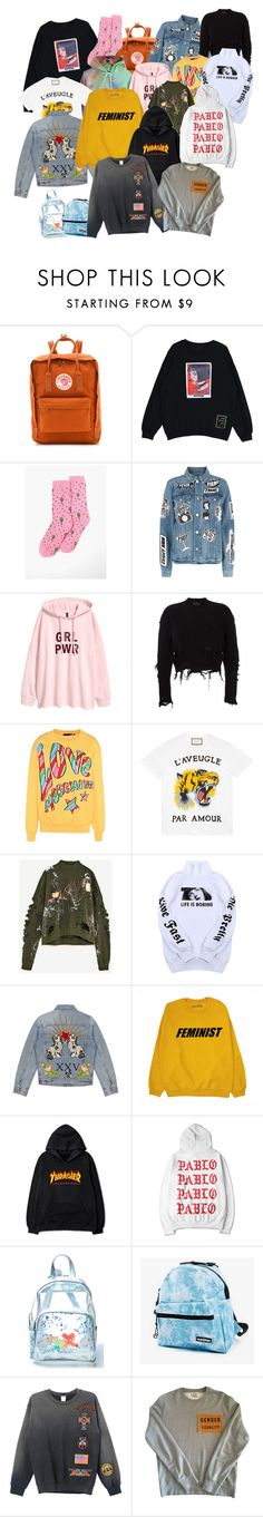 """""""cool but expensive"""" by martadac on Polyvore featuring Fjällräven, PacSun, Frame, adidas Originals, Love Moschino, Gucci, Wallace, Current Mood, Yak Pak and MadeWorn"""