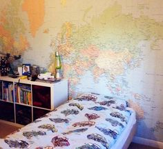 White Furniture With Giant World Map Wallpaper Kids Room Boys - World map for boys room