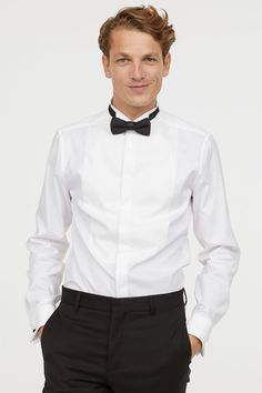 Shirt in woven cotton fabric. Wing collar, bib front, and no button placket. Long sleeves with double cuffs. Slim fit – narrow shoulders and ta Wing Collar, Smoking, Cotton Fabric, Tuxedo, Long Sleeve, Sleeves, Shirts, Fashion, Woven Cotton