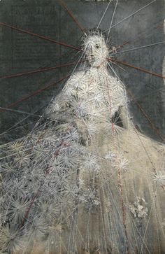 Hinke Schreuders (Netherlands), depicts entrapment through the use of embroidery over vintage photographs. Using female subjects in traditional dress and poses, her work alludes to feminine vulnerability. Art Fibres Textiles, Textile Fiber Art, Textile Artists, Hand Embroidery Stitches, Embroidery Art, Portrait Embroidery, Vintage Accessoires, Inspiration Artistique, Bordados E Cia
