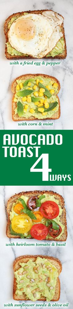 Avocado Toast 4 Ways: Proving once again that there's no one way to make avocado toast on eureka! Organic Bread!