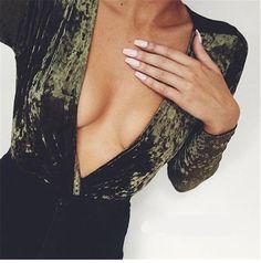 6cd372be6da Velvet Deep Plunge Long Sleeve Bodysuit. Night Club Deep V-Neck Body Tops  Women Stylish Solid Velvet Bodysuit Women Fashion Stretchy Party Jumpsuits  ...