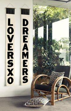 What a cool corner - great chair, and Lovers and Dreamers bus scrolls by Blacklist Studio.
