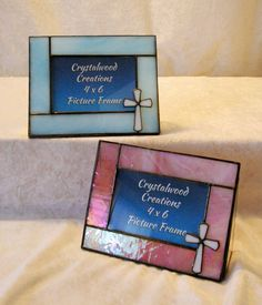 4 x 6 Inch Stained Glass Picture Frame with White Cross