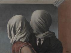 "René Magritte, ""Le Perreux-sur-Marne"" (Lovers, 1928), Oil on canvas, 21 3/8"" x 28 7/8"", MoMA"