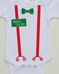 Santa's Lil Elf Children's Christmas Onesie Bodysuit by Rockabybabys on Etsy