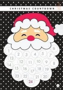 easy advent calendar, glue cotton balls to santa's beard Spanish Christmas, Christmas Arts And Crafts, Christmas Activities, Christmas Printables, Holiday Crafts, Christmas Holidays, Christmas Decorations, Christmas Ornaments, Santa Crafts