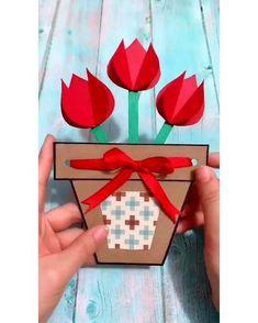 Diy Mother's Day Crafts, Mother's Day Diy, Mothers Day Crafts, Diy Crafts Videos, Diy Crafts For Kids, Easy Crafts, Paper Crafts, Kids Diy, Pin On