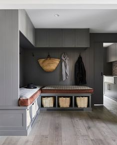Mud rooms are becoming such an important feature of the space planning of any KWD project that involves a family home. Having a central… Kate Walker, Interior Architecture, Interior Design, Family Organizer, School Bags, School Shoes, Beautiful Interiors, Soft Furnishings, Mudroom