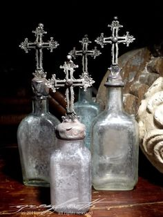 Etheral Cross Bottles, Crystal Topiaries and Wreaths by Isabeau Grey....Pretty ♡