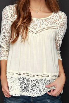 Trendy Scoop Neck 3/4 Sleeve Lace Spliced See-Through Blouse