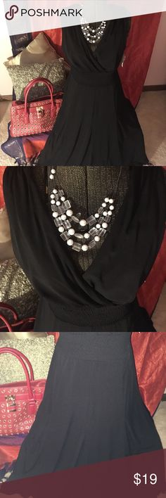 Black neck flare dress Classic beauty black dress.  Every woman needs this in their closet.  It's the go to and must have.  necklace free with purchase 😉 rabb it designs Dresses