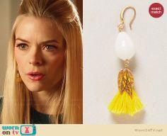 Lemon's yellow tassel earrings on Hart of Dixie.  Outfit Details: http://wornontv.net/30576/ #HartofDixie