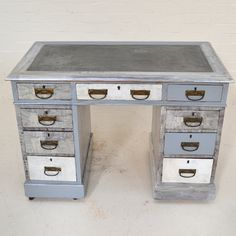 50 Shades Of Grey Pedestal Desk up-cycled chalk painted furniture by Recover Team